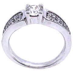 White Diamonds on White Gold Ring 18 Karat