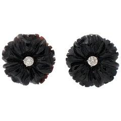 White Diamonds, Onyx Flower Design, 14 Karat White Gold Clip-On Earrings