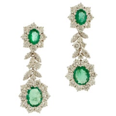 White Diamonds, Oval Shape Emeralds, 18 Karat White Gold Clip-On Earrings