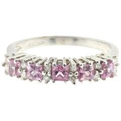 White Diamonds, Pink Sapphires and 18 Karat White Gold Ring