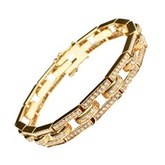 White Diamonds Rose Gold Link Bracelet Made in Italy
