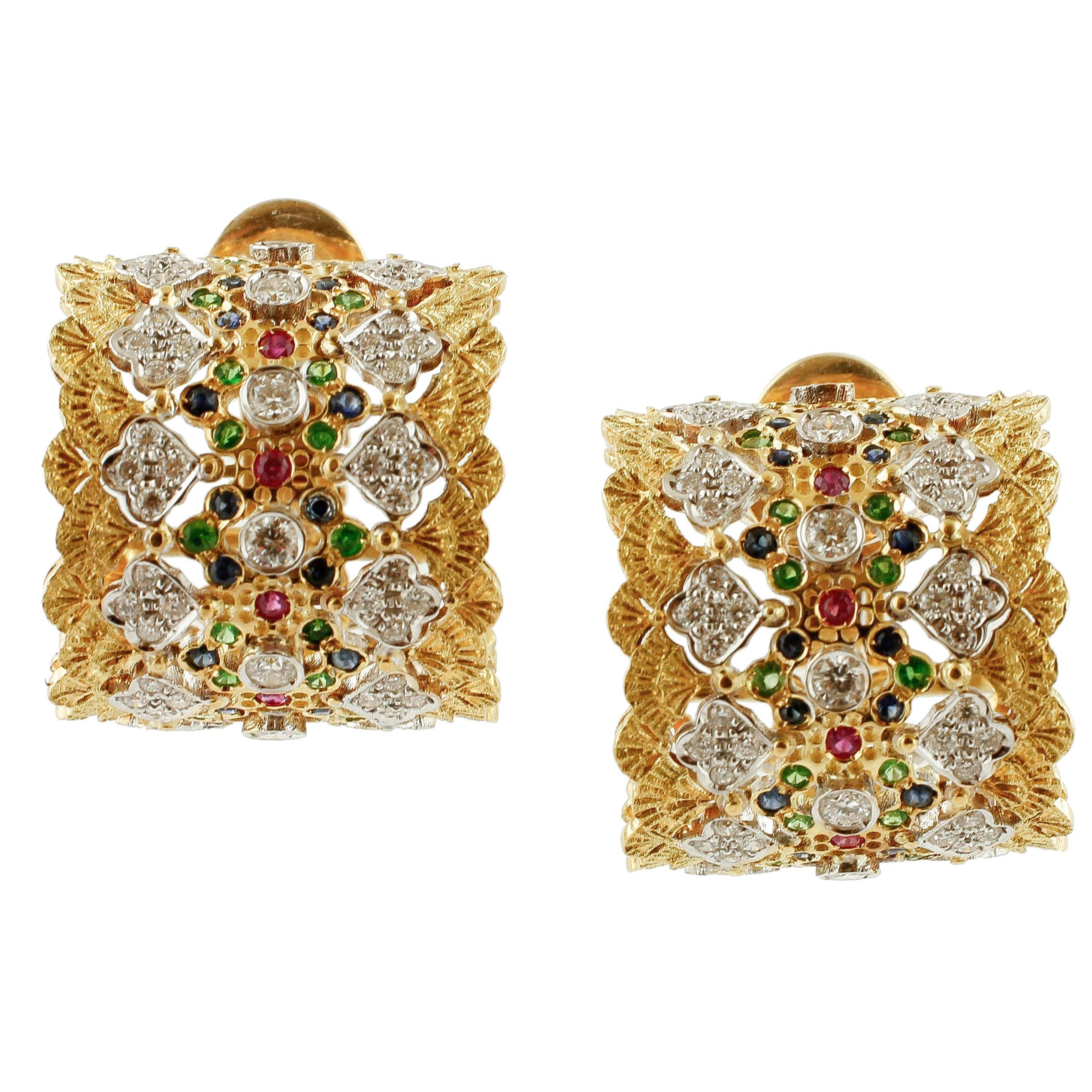 White Diamonds Rubies Blue Sapphires Tsavorites 18K Yellow Gold Clip-On Earrings