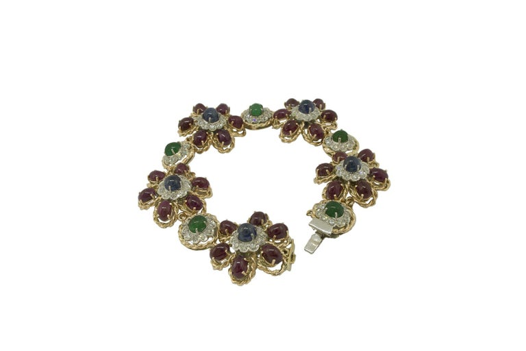 Retro White Diamonds Rubies Emeralds Blue Sapphires Rose and White Gold Link Bracelet For Sale