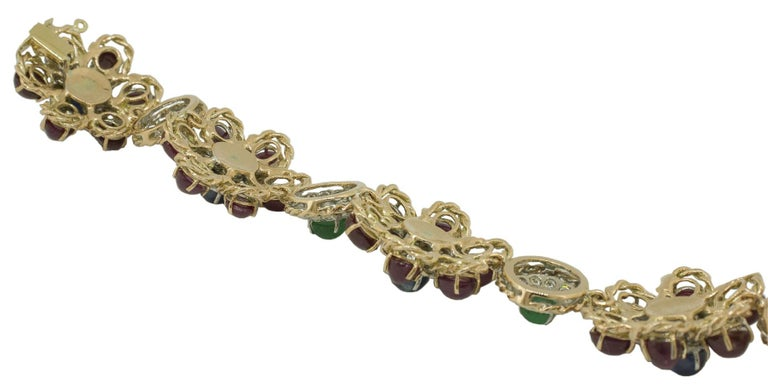 White Diamonds Rubies Emeralds Blue Sapphires Rose and White Gold Link Bracelet In Excellent Condition For Sale In Marcianise, Caserta