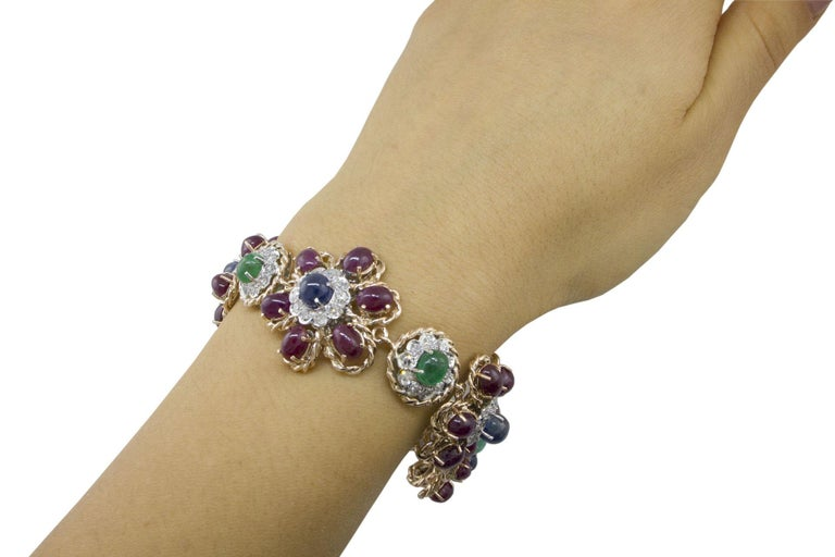 Women's White Diamonds Rubies Emeralds Blue Sapphires Rose and White Gold Link Bracelet For Sale