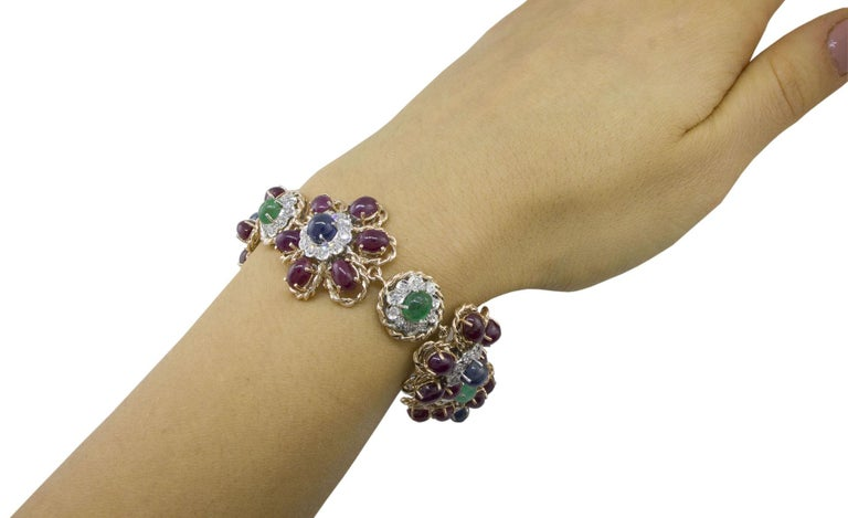 White Diamonds Rubies Emeralds Blue Sapphires Rose and White Gold Link Bracelet For Sale 1