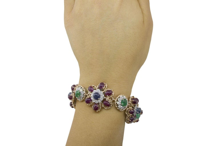 White Diamonds Rubies Emeralds Blue Sapphires Rose and White Gold Link Bracelet For Sale 2