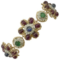 White Diamonds Rubies Emeralds Blue Sapphires Rose and White Gold Link Bracelet