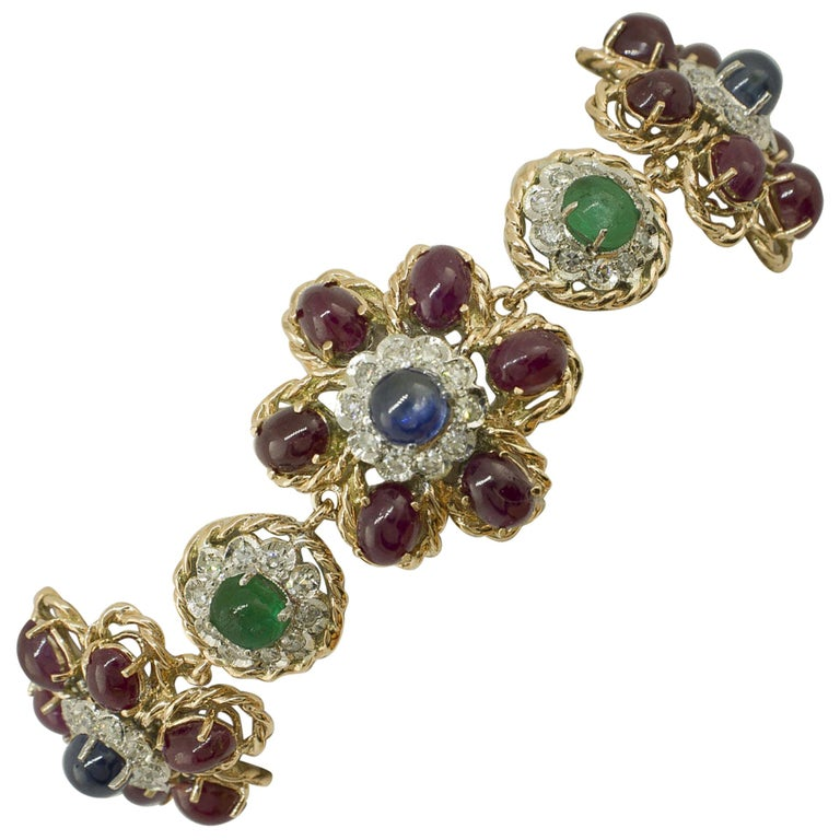 White Diamonds Rubies Emeralds Blue Sapphires Rose and White Gold Link Bracelet For Sale