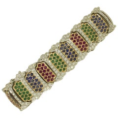 White Diamonds Rubies Emeralds Blue Sapphires White and Rose Gold Link Bracelet