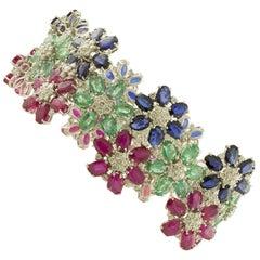 White Diamonds Rubies Emeralds Blue Sapphires White Gold Flower Link Bracelet