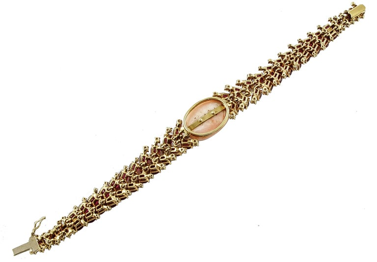 Women's White Diamonds Rubies Pink Coral Rose Gold Bracelet For Sale