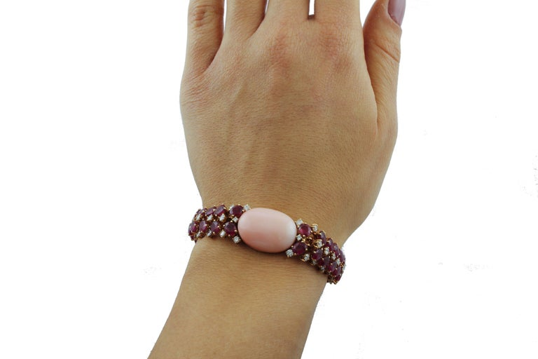 White Diamonds Rubies Pink Coral Rose Gold Bracelet For Sale 1