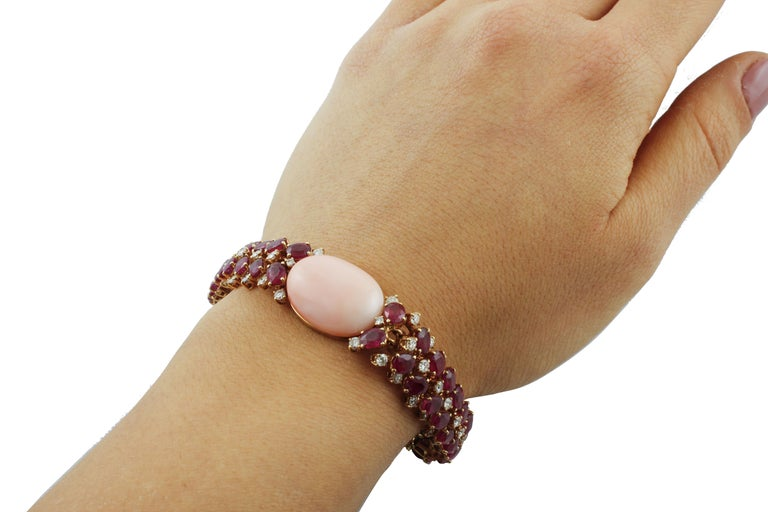 White Diamonds Rubies Pink Coral Rose Gold Bracelet For Sale 2