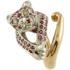 White Diamonds Rubies Rose Gold and Silver Cheetah Ring