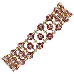 White Diamonds Rubies Rose Gold Little Flower Theme Link Bracelet