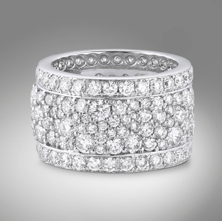 Women's White Diamonds, White Gold Earrings and Band Ring Suite For Sale