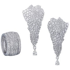 White Diamonds, White Gold Earrings and Band Ring Suite