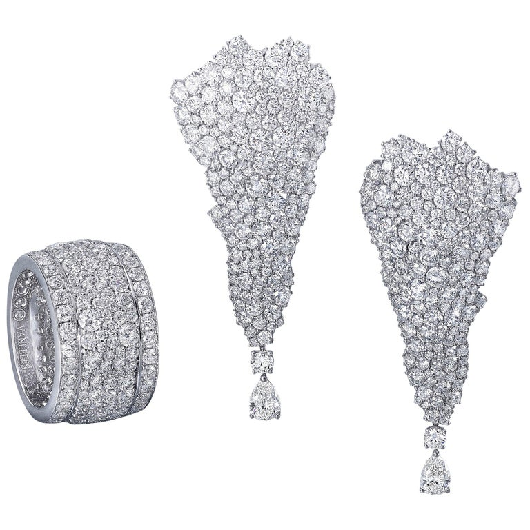 White Diamonds, White Gold Earrings and Band Ring Suite For Sale