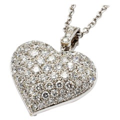 White Diamonds White Gold Heart Necklace, Made in Italy