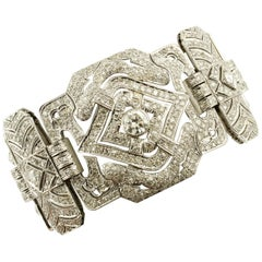 White Diamonds White Gold Italian Retrò Bracelet