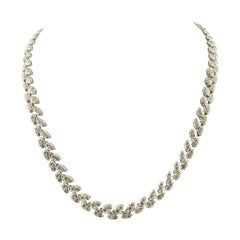 White Diamonds White Gold Leaves Shape Link Necklace