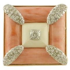 White Diamonds White Stone Pink Stone and White Gold Square Shape Ring