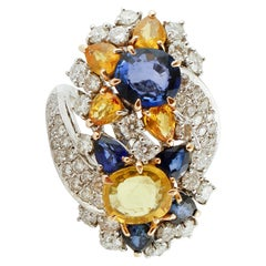 White Diamonds Yellow and Blue Sapphires, White Gold Flower Design, Fashion Ring