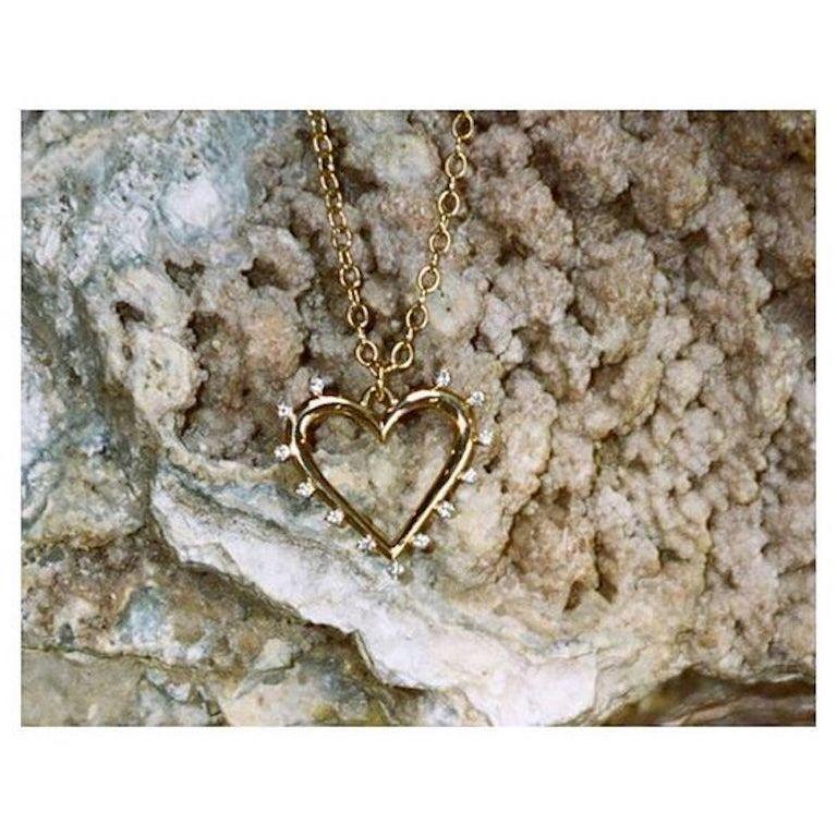 Women's Marlo Laz White Diamonds Yellow Gold 14 Karat Open Heart Charm Necklace For Sale