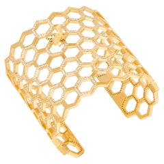 White Diamonds Yellow Gold Bracelet, Honeycomb Bee Cuff