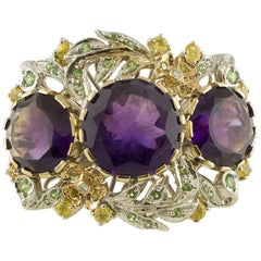 White Diamonds, Yellow Sapphires, Tsavorites, Amethysts White and Rose Gold Ring