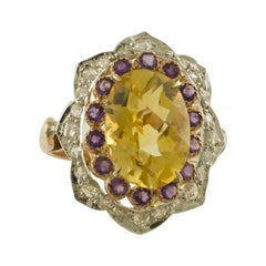 White Diamonds, Yellow Topaz, Little Amethysts Rose Gold and Silver Flower Ring