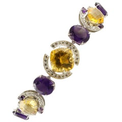 White Diamonds Yellow Topazes Amethysts White Gold Link Bracelet