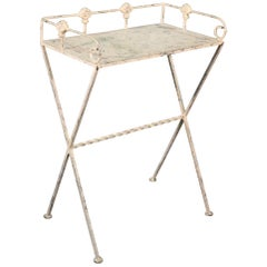 White Distressed Painted French MCM Plant Stand Serving Table Butler, circa 1950