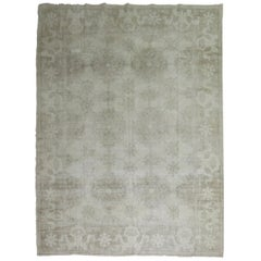 White Distressed Vintage Khotan Rug