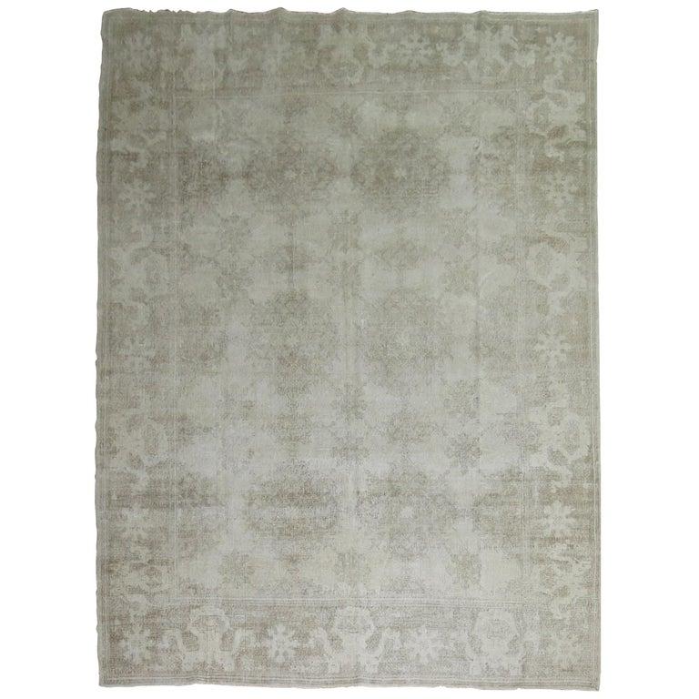 White Distressed Vintage Khotan Rug For Sale