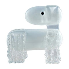 White Dog Glass Sculpture by Eliana Gerotto