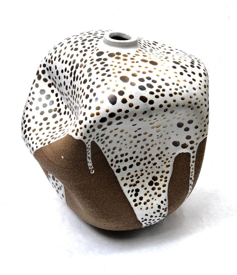 Modern White Dots Contemporary Hand Painted Ceramic Vase Wabi Sabi Handmade Sculpture For Sale