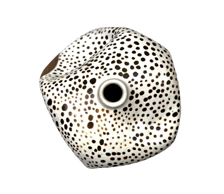 American White Dots Contemporary Hand Painted Ceramic Vase Wabi Sabi Handmade Sculpture For Sale