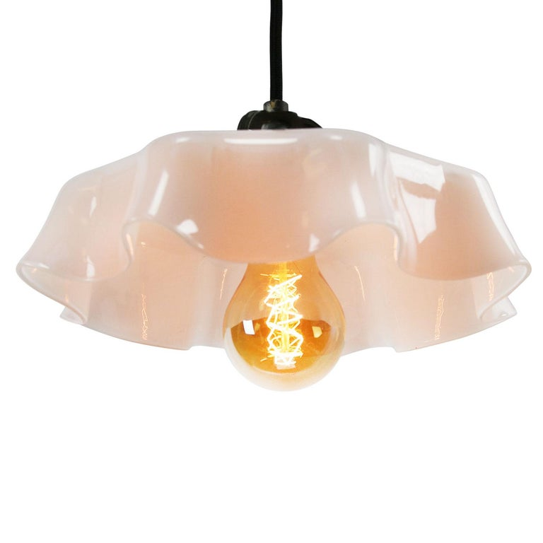 White Dutch Opaline Glass Shades Pendants In Good Condition In Amsterdam, NL