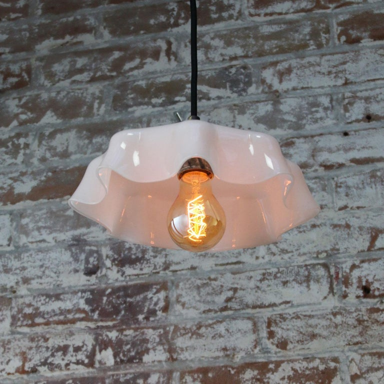 20th Century White Dutch Opaline Glass Shades Pendants
