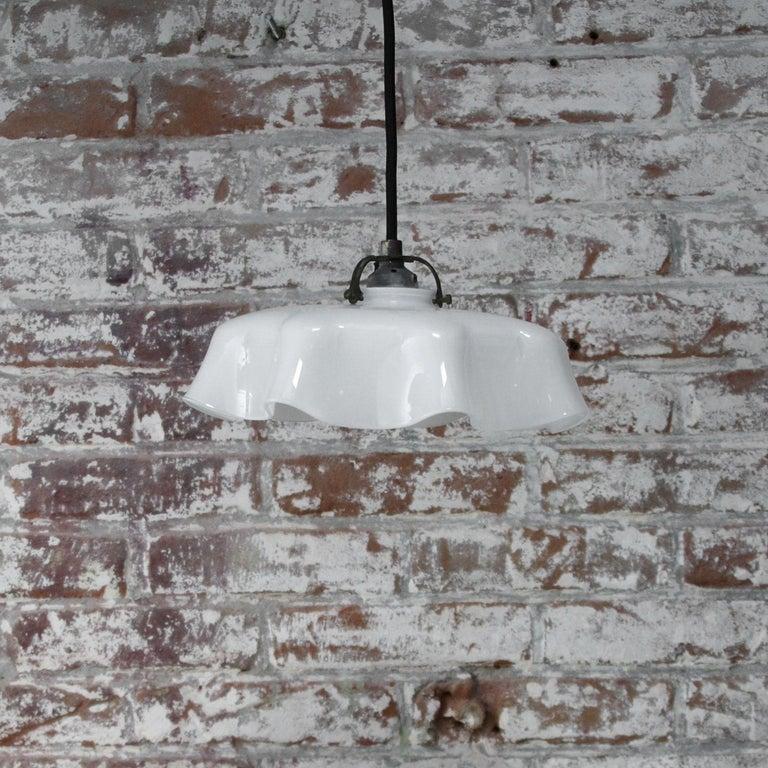 White Dutch Opaline Glass Shades Pendants 1