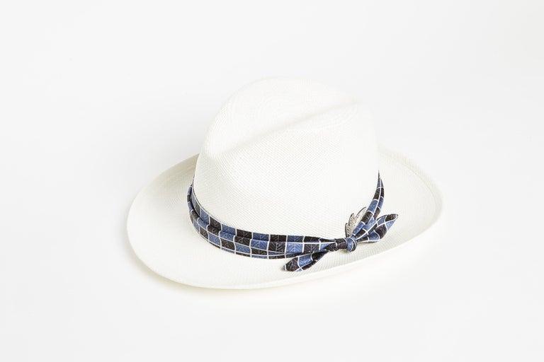 Gray White embellished handmade hat NWOT For Sale