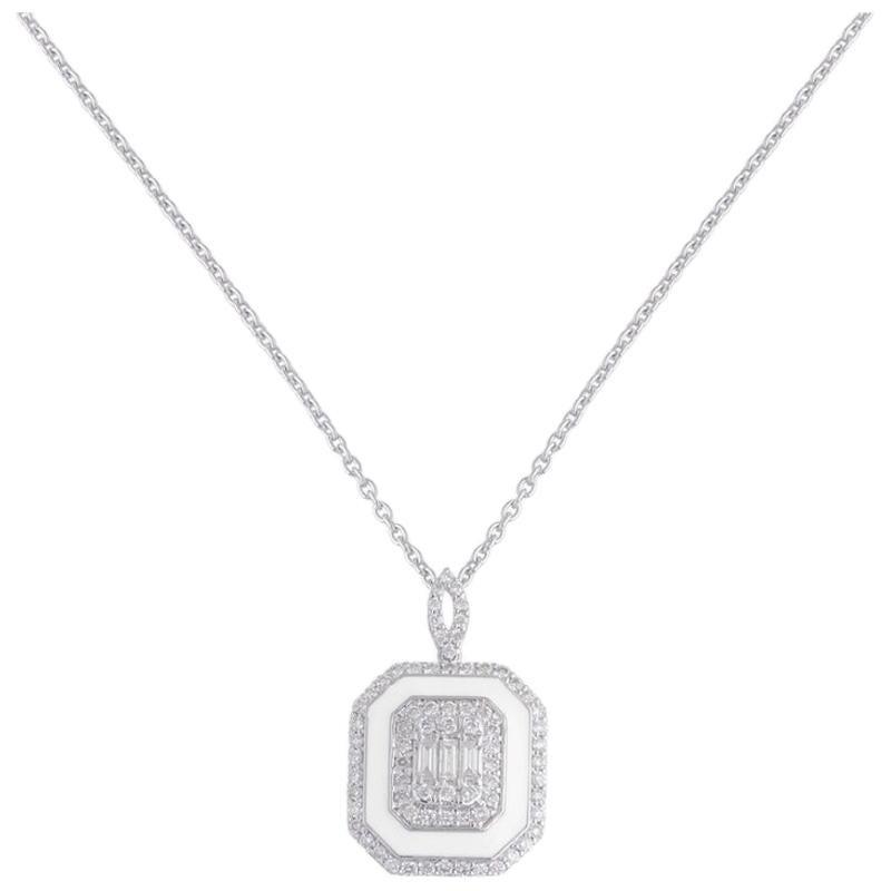 White Enamel 18 Karat Gold Diamond Pendant Necklace