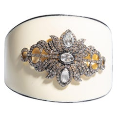 White Enamel and Diamond Cuff Bracelet