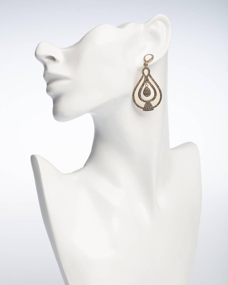 White Enamel and Diamond Dangle Earrings In Excellent Condition For Sale In Nantucket, MA