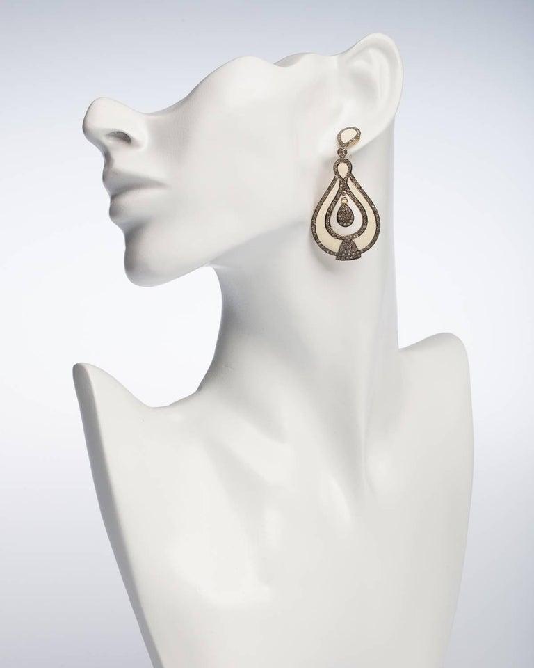 Women's or Men's White Enamel and Diamond Dangle Earrings For Sale