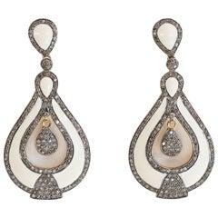 White Enamel and Diamond Dangle Earrings