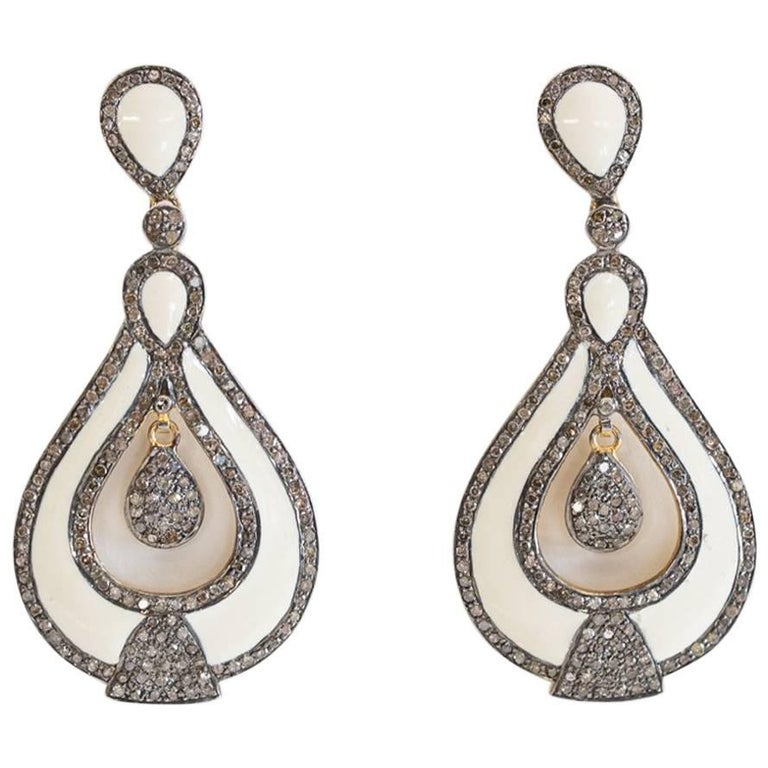 White Enamel and Diamond Dangle Earrings For Sale
