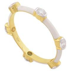 White Enamel Diamond 14 Karat Gold Ring